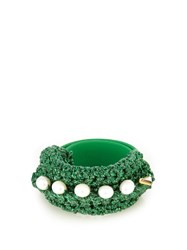 Lucy Folk Pearl Diver Slap Crochet And Pearl Bracelet Green