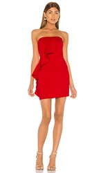 Susana Monaco Spiral Ruffle Mini Dress In Red. Perfect Red