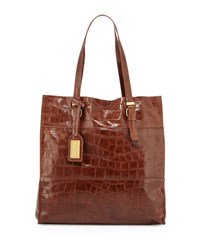 Liv Crocodile Embossed Leather Tote Bag Cappuccino Badgley Mischka Cappucino