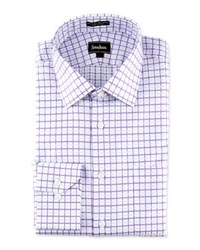 Neiman Marcus Regular Finish Classic Fit Two Tone Plaid Dress Shirt Blue