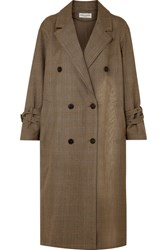 Sonia Rykiel Oversized Prince Of Wales Wool Trench Coat Brown