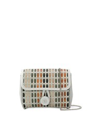 Carmina Campus Braided Flap Crossbody Bag Grey