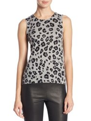 Saks Fifth Avenue Collection Cashmere Animal Printed Shell Steel Heather Multi