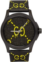 Black And Yellow G Timeless Guccighost Watch