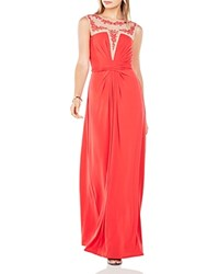 Bcbgmaxazria Embroidered Detail Gown Red Berry