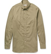 Boglioli Button Down Collar Cotton Poplin Shirt Green