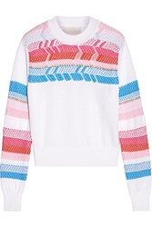 Peter Pilotto Crochet Paneled Cotton Sweater White