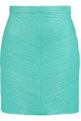 Balmain Quilted Leather Mini Skirt Turquoise