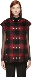 Alexander Wang Red And Black Plaid Multisnap Vest