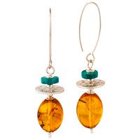 Be Jewelled Sterling Silver Drop Earrings Amber Turquoise