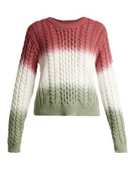 Sies Marjan Britta Cable Knit Cotton Sweater Pink Multi