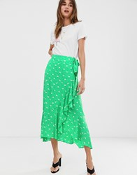 2Nd Day 2Ndday Limelight Anemone Floral Print Ruffle Wrap Midi Skirt Green