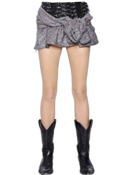 Faith Connexion Lace Up Vinyl And Lurex Blend Tweed Skirt Pink