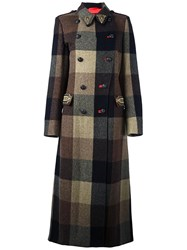 Etro Double Breasted Checked Coat Brown