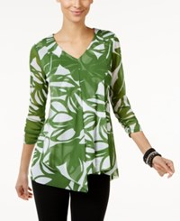 Alfani Ruffled Tunic Top Only At Macy's Green Flat Floral