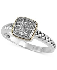 Effy Collection Balissima By Effy Braided Diamond Accent Ring In Sterling Silver And 18K Gold