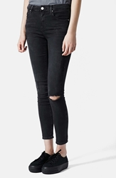 Topshop Moto 'Leigh' Ripped Skinny Jeans Black Regular And Short