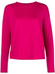 Aspesi Boat Neck Knitted Top Pink And Purple