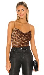 Astr The Label Mai Top In Metallic Copper. Rust Gold Sequins