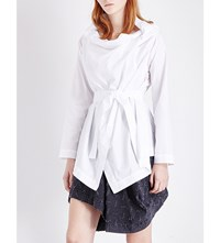 Anglomania Draped Cotton Poplin Top Optical White