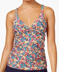 Anne Cole Budding Romance Floral Print Bra Sized Tankini Top Women's Swimsuit Multi