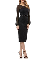 Kay Unger New York Long Sleeve Belted Dress In Lace And Chiffon Black
