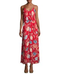 Romeo And Juliet Couture Floral Print Chiffon Maxi Dress W Popover Red Pattern