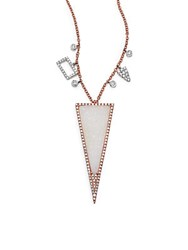 Meira T Druzy Diamond 14K White And Rose Gold Triangle Pendant Necklace