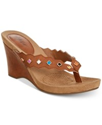 Styleandco. Style Co Chicklet Wedge Thong Sandals Created For Macy's Women's Shoes Coffee