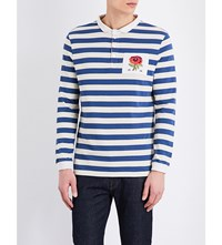 Kent And Curwen Striped Rose Embroidered Cotton Jersey Rugby Top Blue Ecru