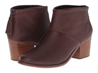 Toms Leila Bootie Oxblood Full Grain Leather Women's Zip Boots Tan