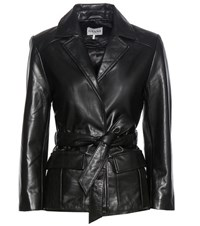 Ganni Passion Leather Wrap Jacket Black