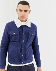 Another Influence Faux Suede Jacket With Borg Collar Navy