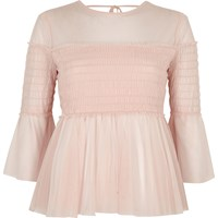 River Island Womens Light Pink Mesh Pleated Smock Top
