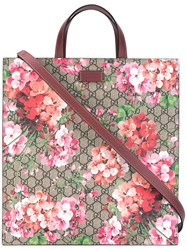 Gucci Gg Bloom Supreme Tote Women Leather One Size Brown