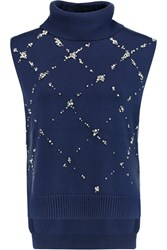 3.1 Phillip Lim Crystal And Faux Pearl Embellished Wool Turtleneck Sweater Blue