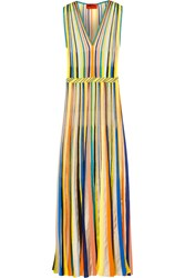 Missoni Striped Crochet Knit Maxi Dress Green Yellow