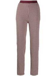 Rag And Bone Houndstooth Print Trousers Red