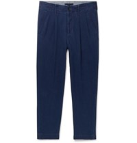 Mr P. Tapered Pleated Cotton Trousers Blue