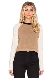 Torn By Ronny Kobo Antonina Crop Sweater Tan