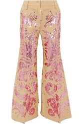Valentino Sequined Wool And Silk Blend Flared Pants Beige