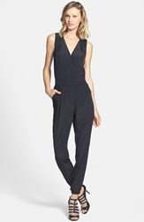 Women's Halogen V Neck Sleeveless Jumpsuit Black