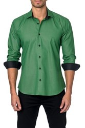 Jared Lang Long Sleeve Printed Semi Fitted Shirt Green