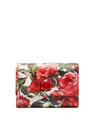 Dolce And Gabbana Rose Print Leather Wallet White Multi