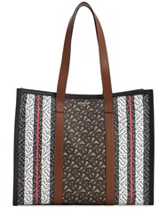 Burberry Sm Book Monogram And Canvas Tote Bag Brown