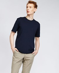 Aspesi Garment Dyed Japanese Cotton Jersey T Shirt Navy Blue