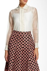 Orla Kiely Ruffled Accent Silk Shirt White
