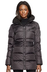 Women's Lauren Ralph Lauren Belted Quilted Jacket With Faux Shearling Trim Black