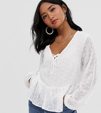 New Look Petite Tie Front Long Sleeve Shell Top In White