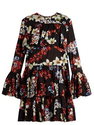 Msgm Floral Print Tiered Hem Cotton Dress Black Multi